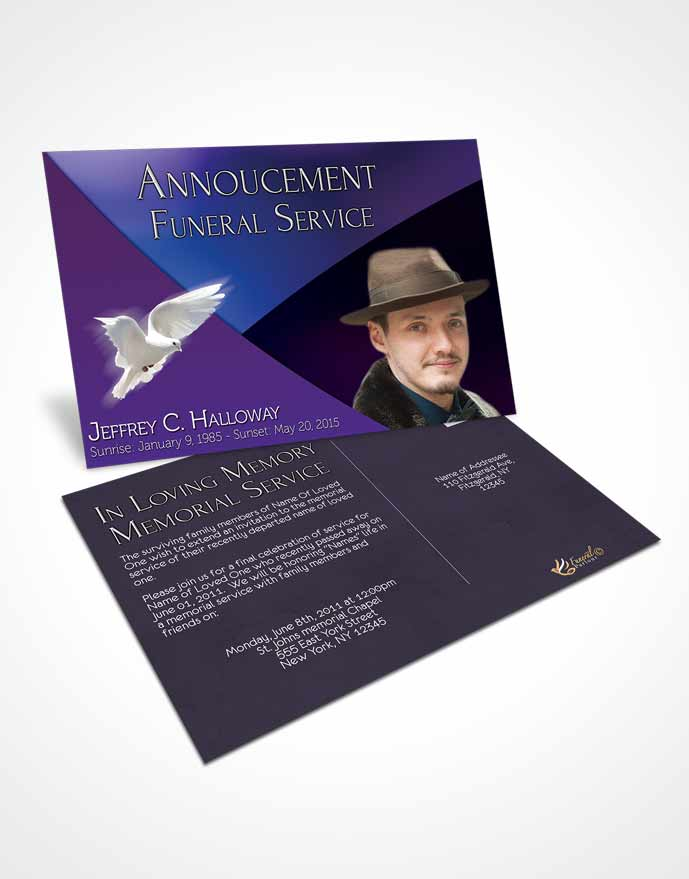 Funeral Announcement Card Template Crystal Harmony Electric Indigo Dark