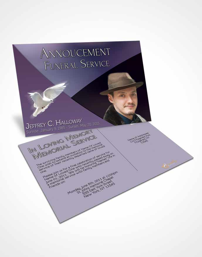 Funeral Announcement Card Template Crystal Harmony Lavender Light