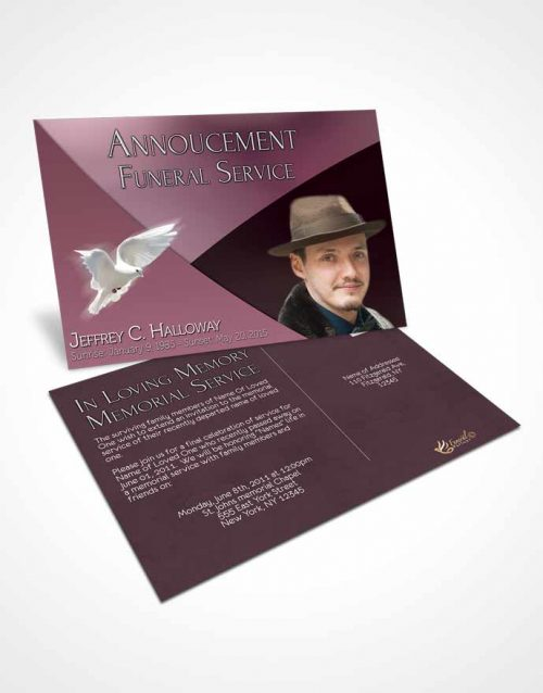 Funeral Announcement Card Template Crystal Harmony Puce Dark