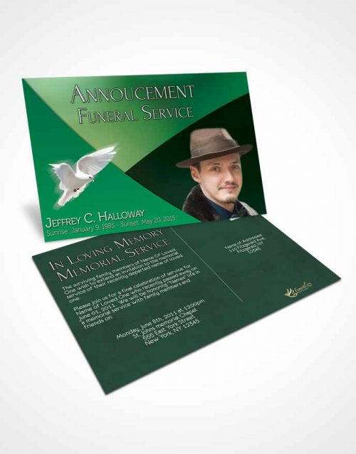 Funeral Announcement Card Template Crystal Harmony Shamrock Green Dark