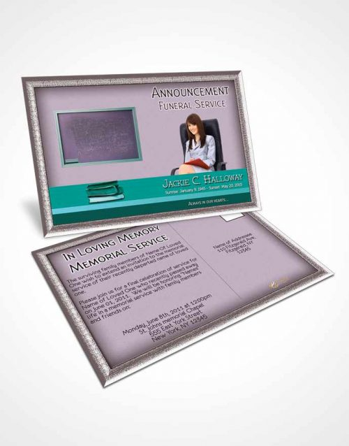 Funeral Announcement Card Template Cyan Teacher Dark