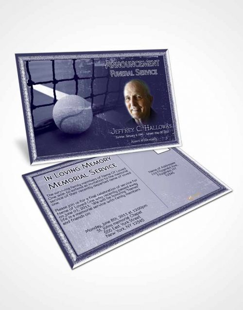 Funeral Announcement Card Template Deep Blue Tennis Star
