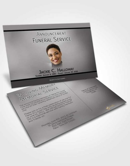 Funeral Announcement Card Template Divine Essence Black and White