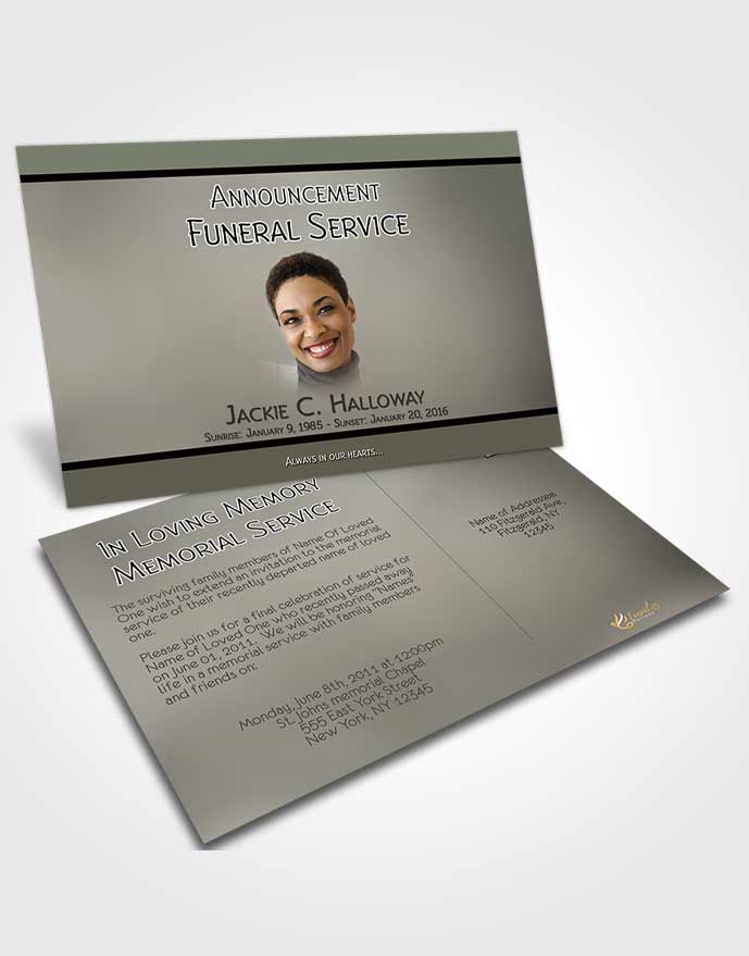 Funeral Announcement Card Template Divine Essence Gentle Emeralds