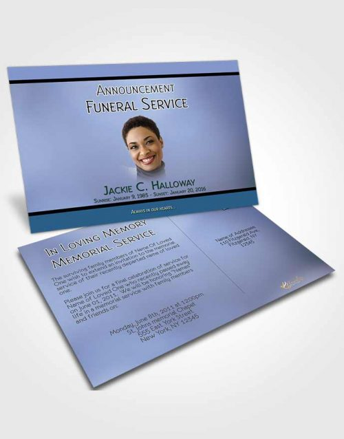 Funeral Announcement Card Template Divine Essence Soft Blue Heritage