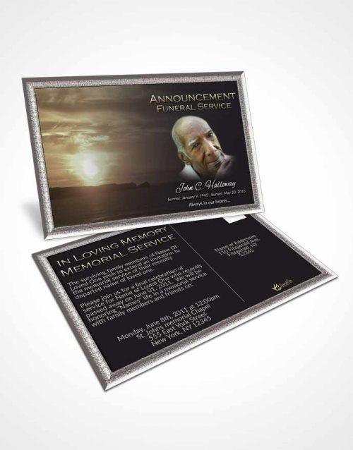 Funeral Announcement Card Template Elegant Higher Power