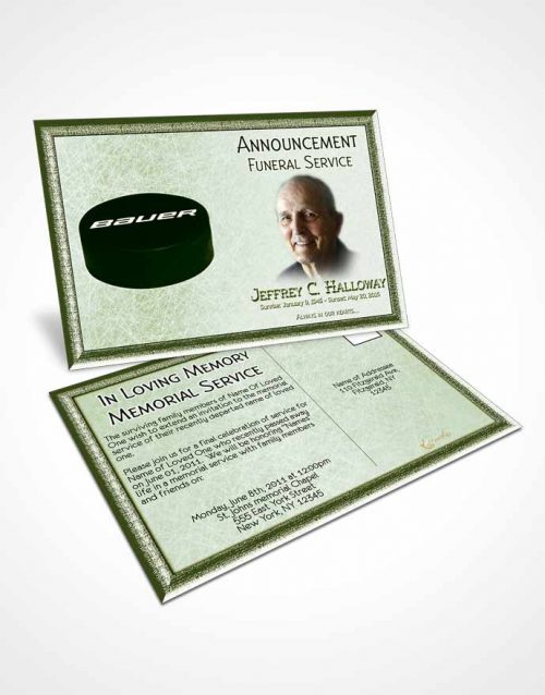 Funeral Announcement Card Template Emerald Hockey Star