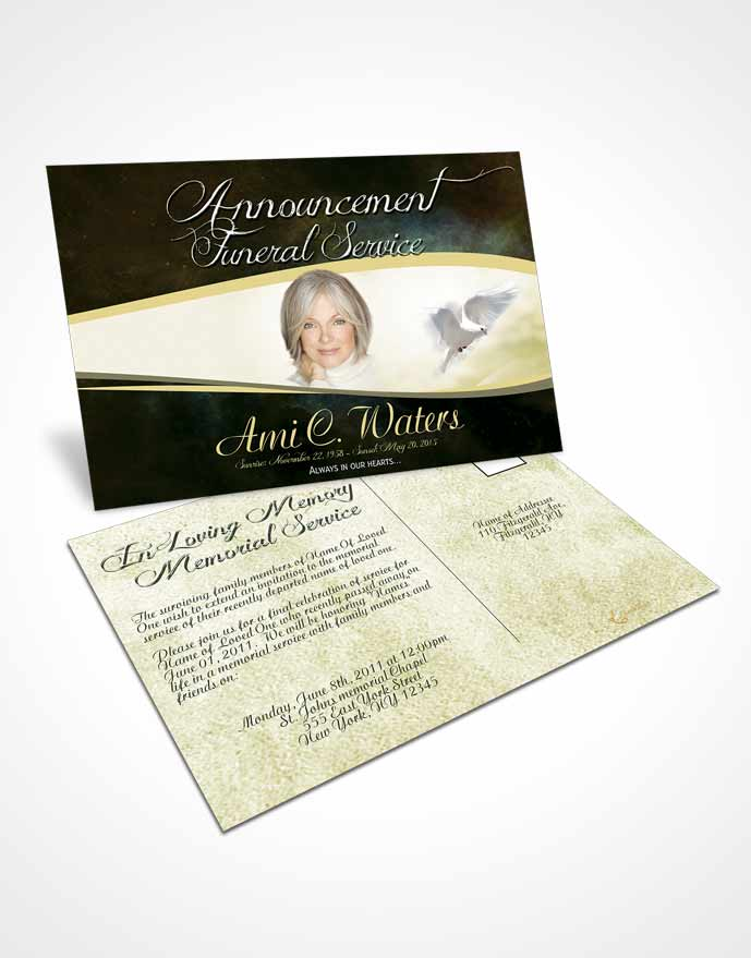 Funeral Announcement Card Template Emerald Paradise