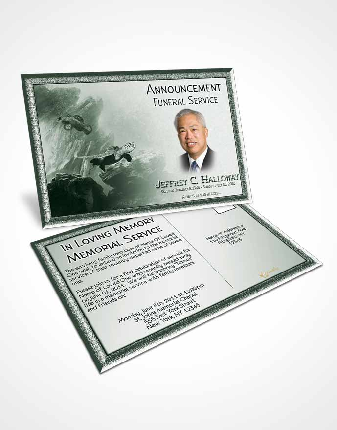 Funeral Announcement Card Template Emerald Water Lover