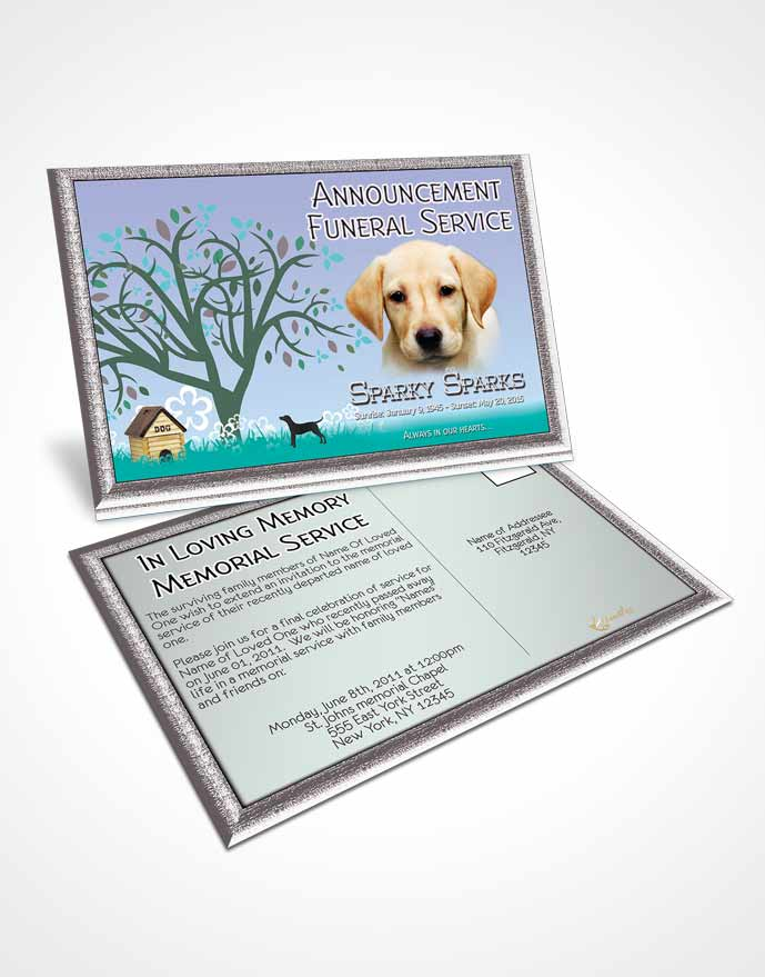 Funeral Announcement Card Template Evening Doggy Heaven
