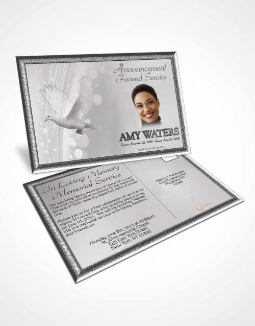 Funeral Announcement Card Template Free Spirit Black and White