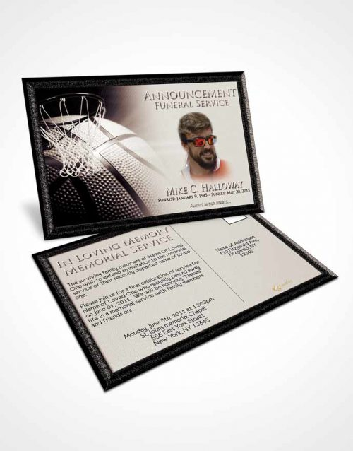 Funeral Announcement Card Template Freedom Basketball Honor
