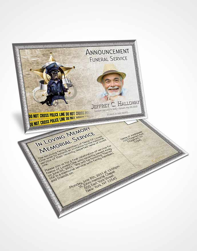 Funeral Announcement Card Template Golden Police Enforcement