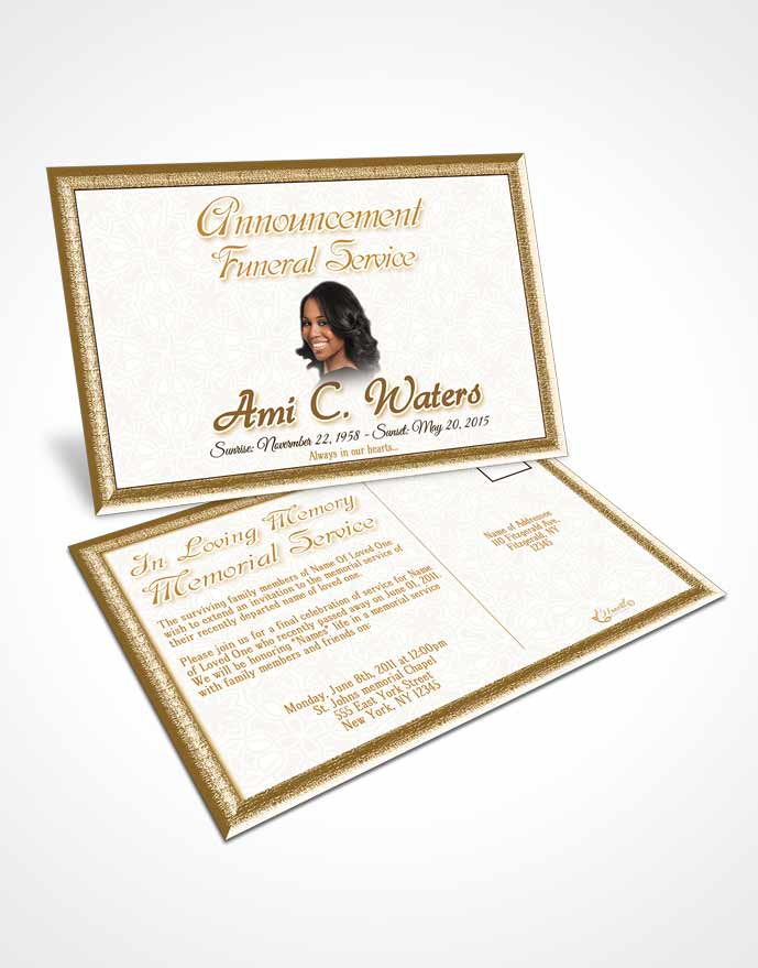 Funeral Announcement Card Template Golden Purity