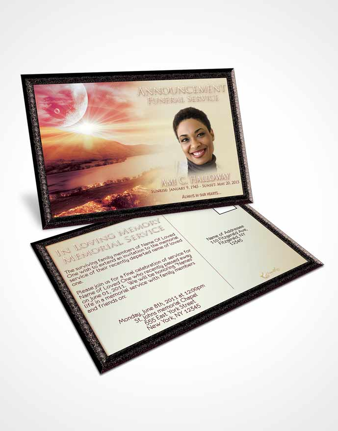 Funeral Announcement Card Template Harmony Evening Moon