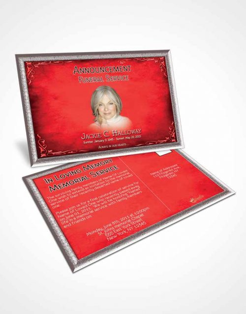 Funeral Announcement Card Template Heavens Touch Brilliant Ruby