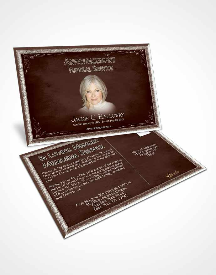 Funeral Announcement Card Template Heavens Touch Dark Ruby