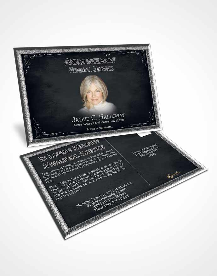 Funeral Announcement Card Template Heavens Touch Deep Serenity