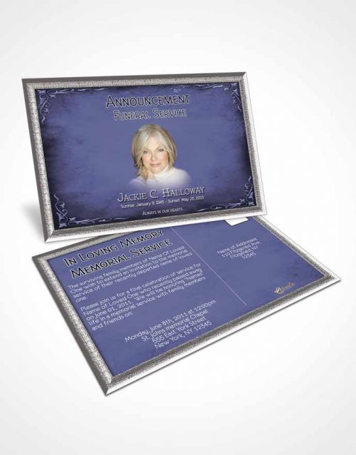 Funeral Announcement Card Template Heavens Touch Soft Sky