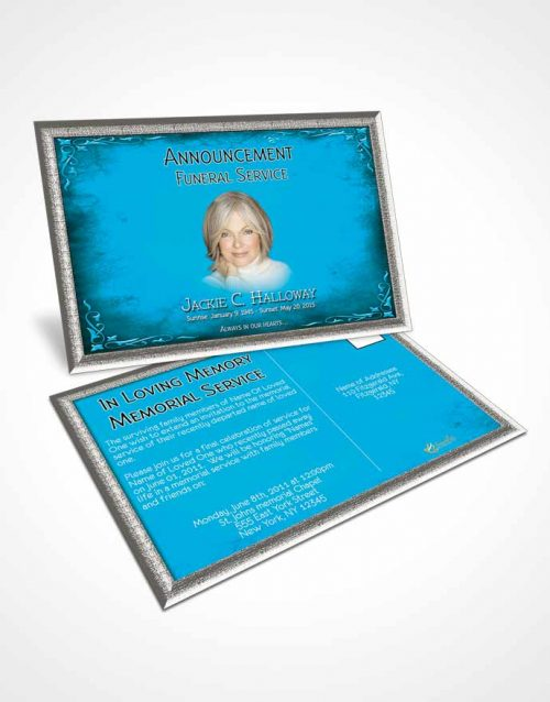 Funeral Announcement Card Template Heavens Touch Turquoise Laughter