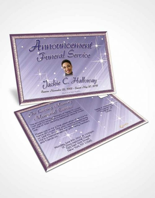 Funeral Announcement Card Template Lavender Mist Serenity
