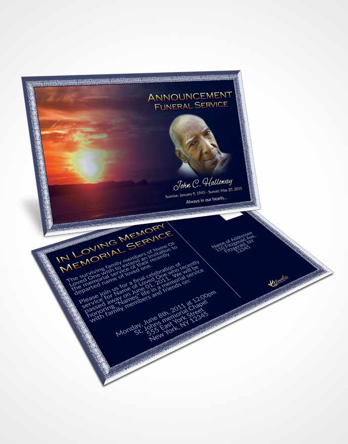 Funeral Announcement Card Template Loving Higher Power