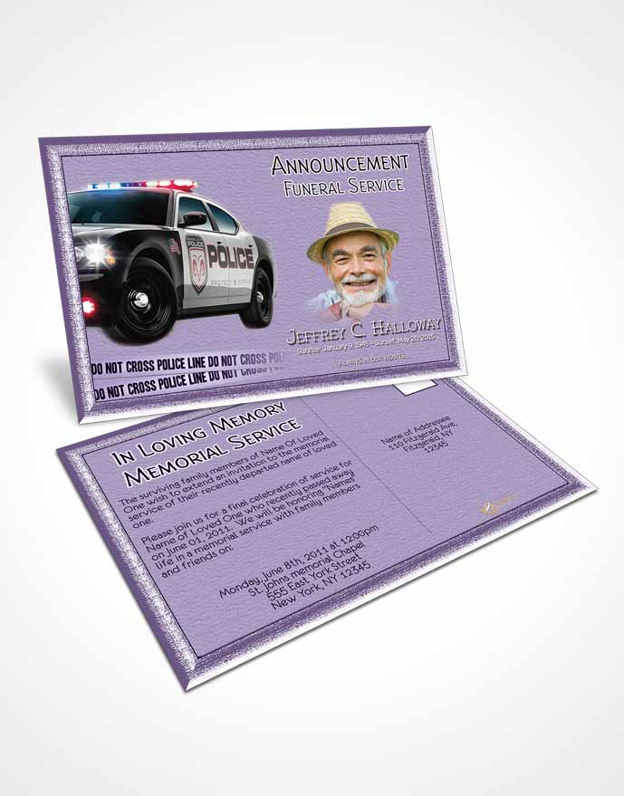 Funeral Announcement Card Template Loving Police On Duty
