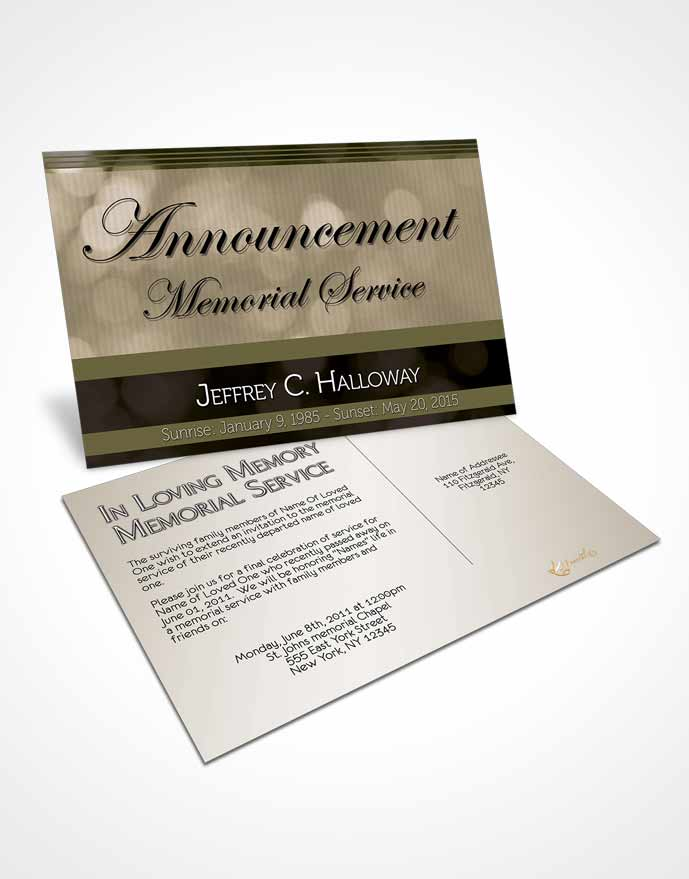 Funeral Announcement Card Template Majestic Rustic Nights Dark