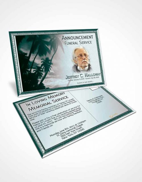 Funeral Announcement Card Template Martial Arts Turquoise Sunset