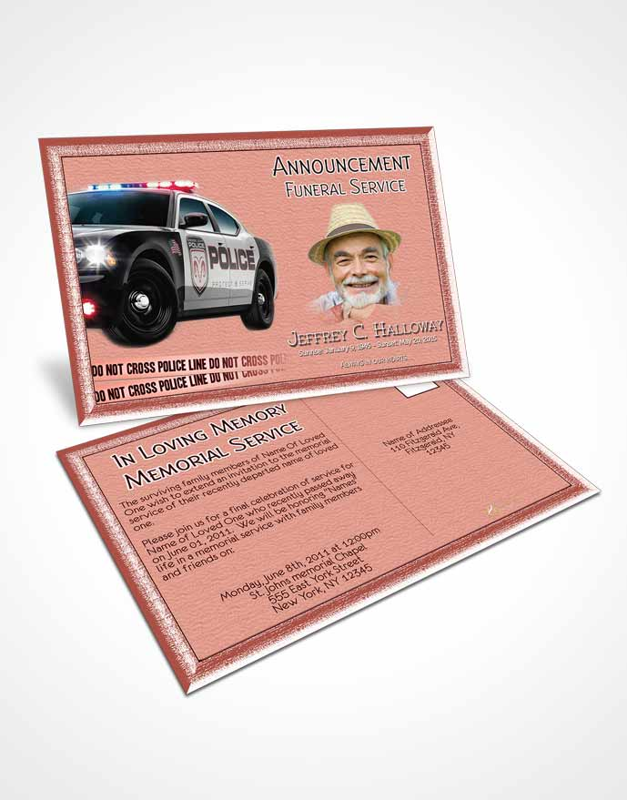 Funeral Announcement Card Template Morning Police On Duty