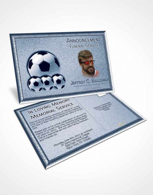 Funeral Announcement Card Template Ocean Blue Soccer Star
