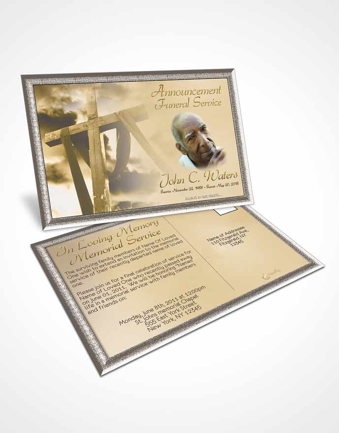 Funeral Announcement Card Template On The Cross Golden Heritage