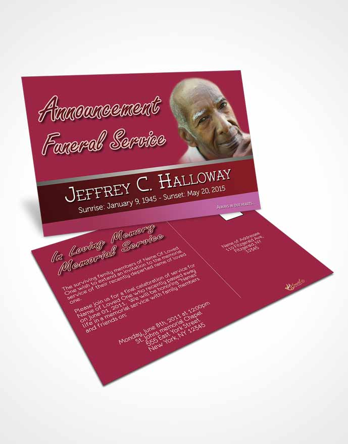 Funeral Announcement Card Template Pink Love Tranquility Dark