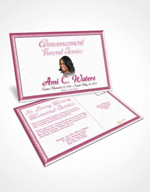 Funeral Announcement Card Template Pink Purity