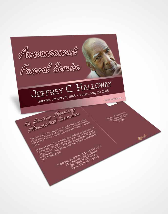 Funeral Announcement Card Template Pink Serenity Tranquility Dark