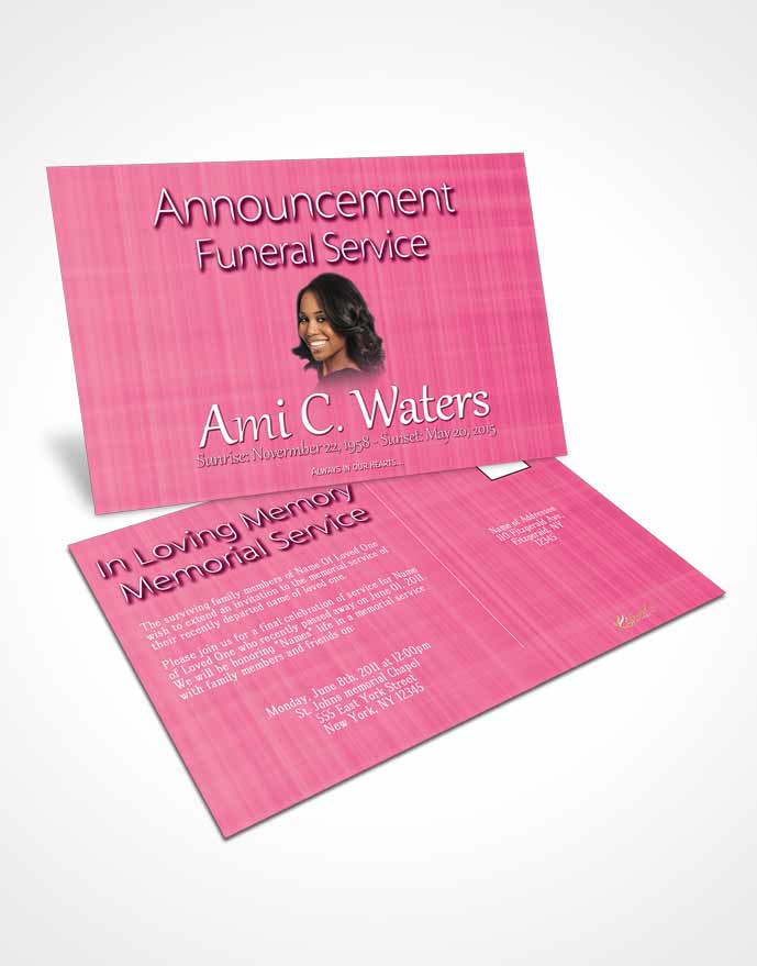 Funeral Announcement Card Template Pink Simplicity