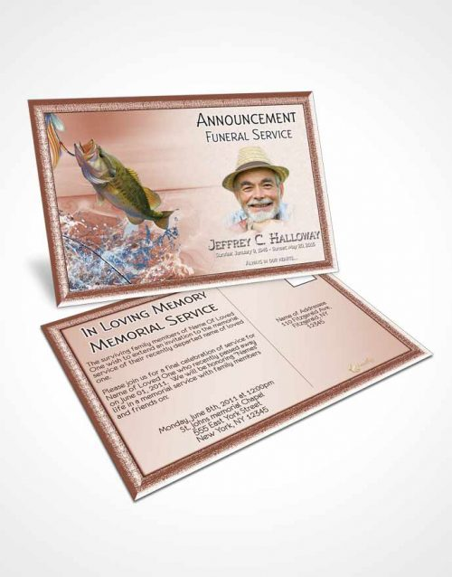 Funeral Announcement Card Template Red Waters Calm Fisherman