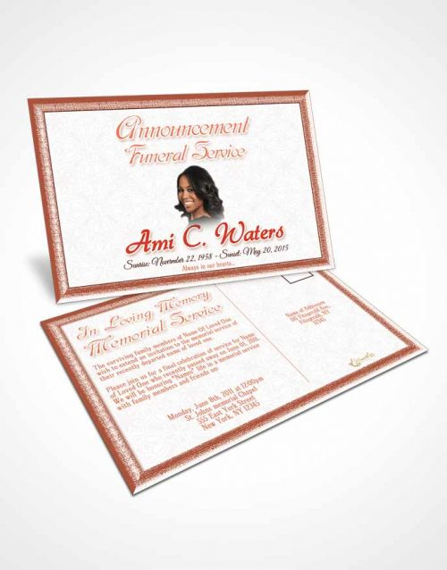 Funeral Announcement Card Template Ruby Purity