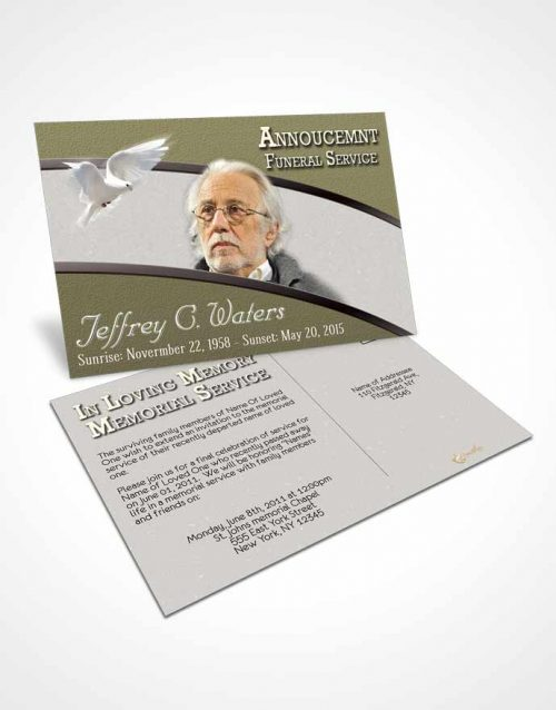 Funeral Announcement Card Template Rustic Clarity