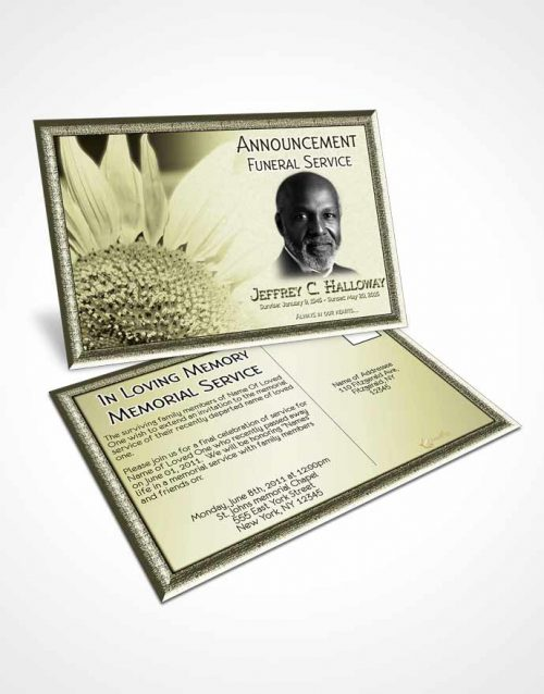 Funeral Announcement Card Template Rustic Sunflower