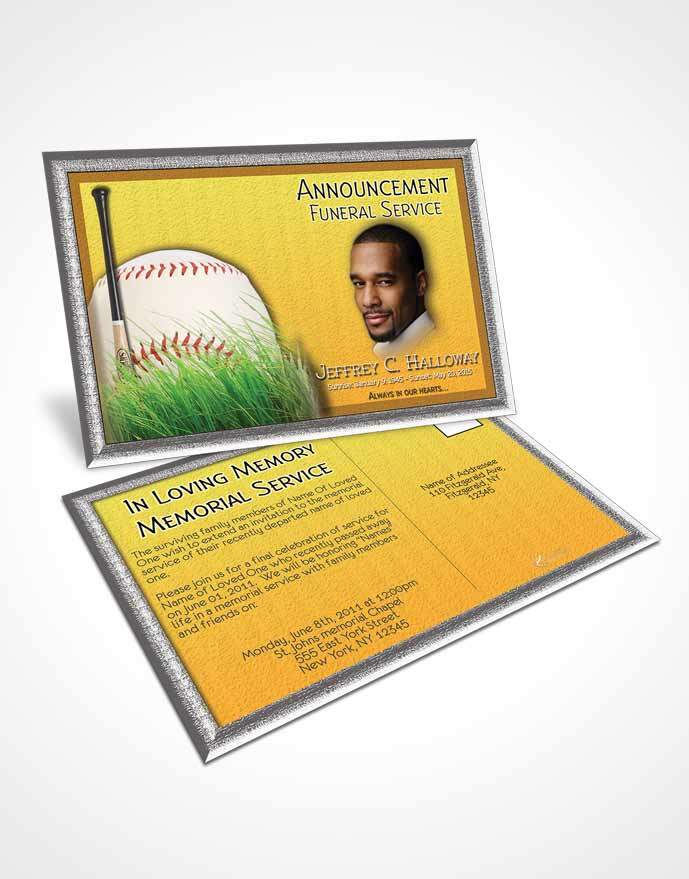 Funeral Announcement Card Template Sandy Baseball Star Dark