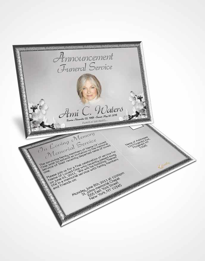 Funeral Announcement Card Template Simple Beauty Black and White
