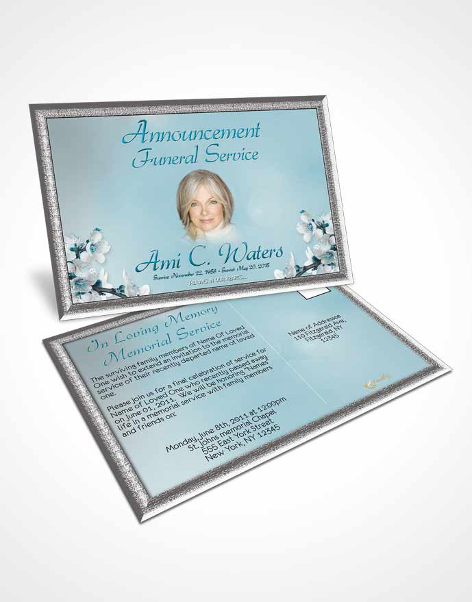 Funeral Announcement Card Template Simple Beauty Peaceful Ocean