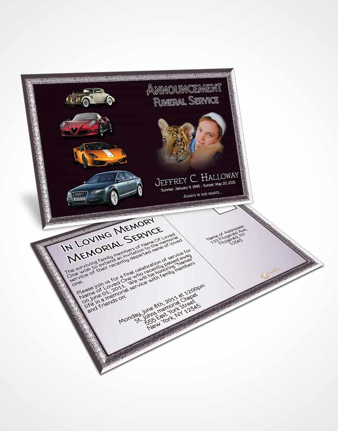 Funeral Announcement Card Template Soft Amethyst Car Enthusiast