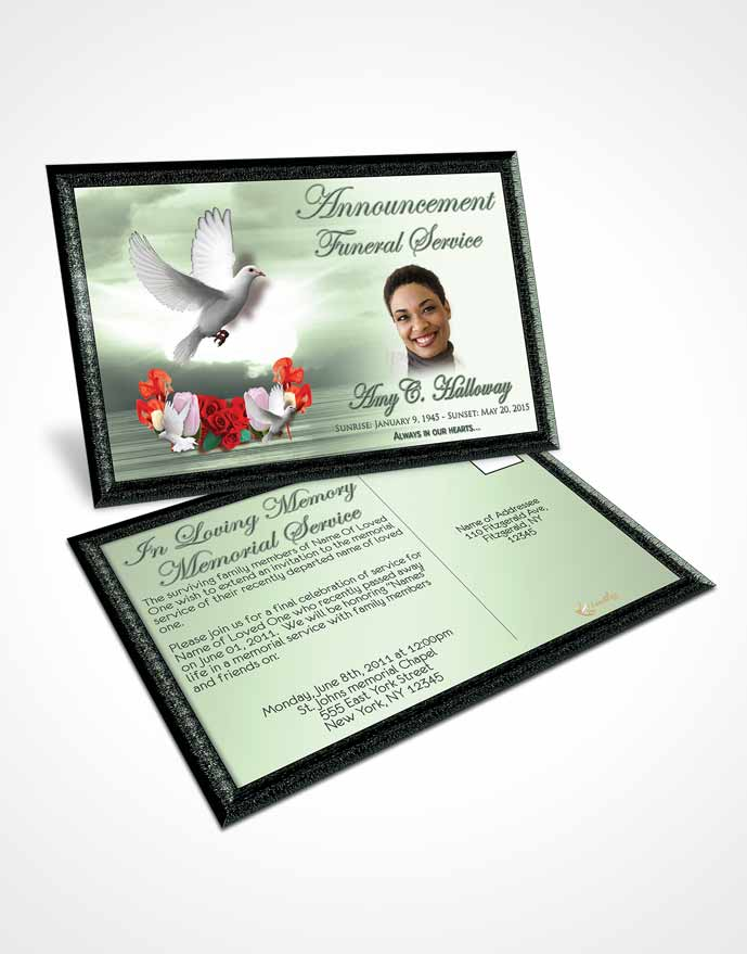 Funeral Announcement Card Template Soft Emerald Delightful Doves