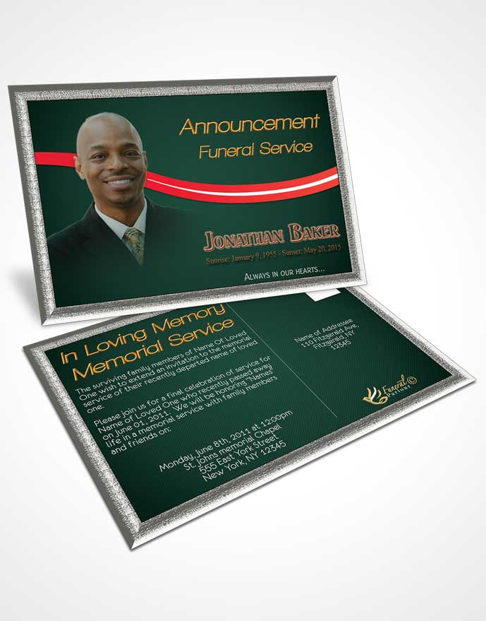 Funeral Announcement Card Template Soft Velvet Rose Journey