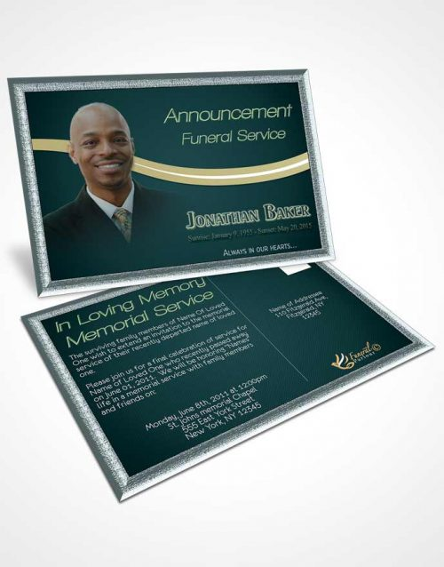 Funeral Announcement Card Template Soothing Sky Journey