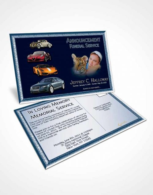 Funeral Announcement Card Template Southern Blue Sky Car Enthusiast