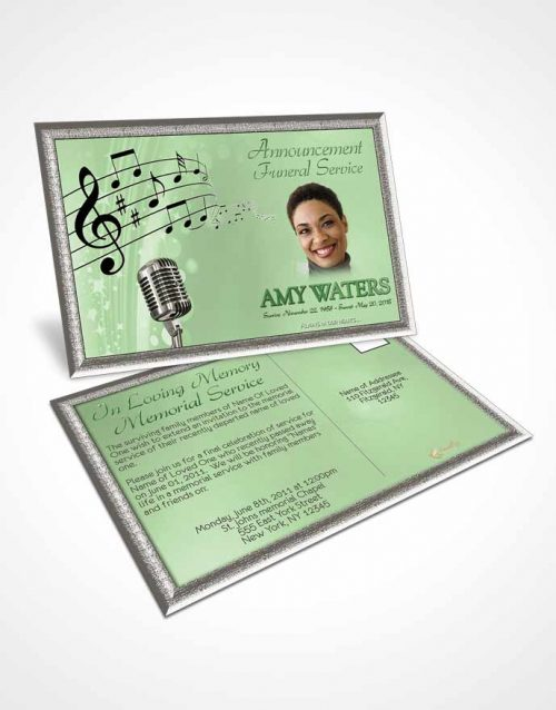 Funeral Announcement Card Template The Sound of Music Emerald Glow