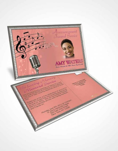 Funeral Announcement Card Template The Sound of Music Evening Peace